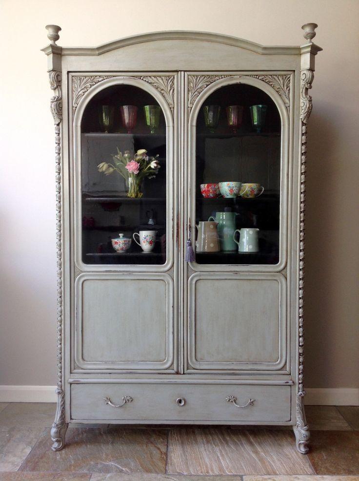 *NOW SOLD* Antique 19th Century Glazed Biedermeier continental Walnut  Display Cabinet Bookcase Dresser Cupboard - 81 Best Clyne & Co. Vintage & Antique Furniture Images On