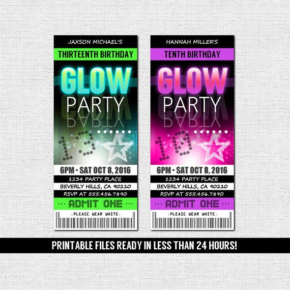 GLOW PARTY INVITATIONS Ticket Style Neon Birthday by nowanorris                                                                                                                                                                                 More