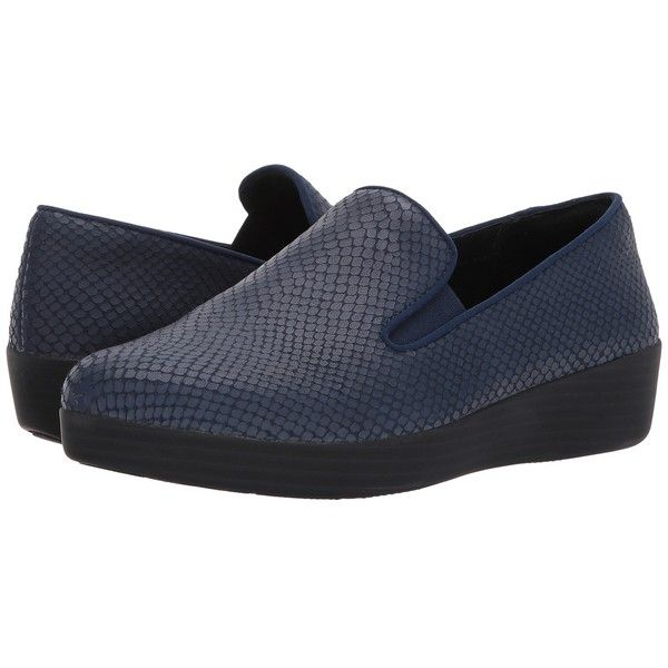FitFlop Superskate (Midnight Navy) Women's Clog/Mule Shoes ($130) ❤ liked on Polyvore featuring shoes, navy shoes, clogs mules, slip on mule shoes, navy blue slip on shoes and navy blue shoes
