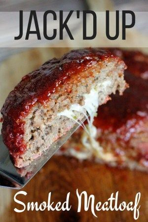 "JACK'D UP Smoked Meatloaf GOOD 1lb burger 1/4 c panko 1/4 medium red onion grated 1 cloves garlic minced 1 eggs 1/2 T Worcestershire sauce 1 T Jack Daniels whiskey 1/2 T steak rub 2T milk 3 oz pepper jack in strips sauce: 1/4 c ketchup 3T brown sugar 2 T Jack Daniels whiskey 1/2 T steak rub Spread half meatloaf mixture on grill basket. Layer with pepper jack, leaving 1"" on all sides. Top with remaining meatloaf & seal edges. pour sauce over. smoke 4 hours until 165F. Bake mini-loaf 40 min."