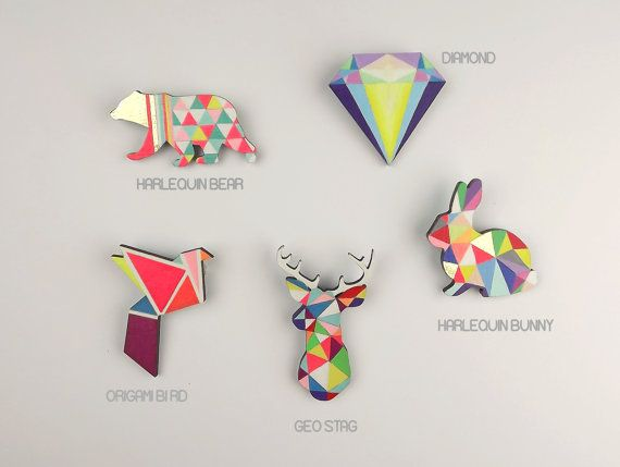 Geometric Bear Brooch Neon 'Harlequin Bear' by SketchInc on Etsy, £11.50