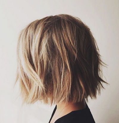 """Blunt and Ruffled"" - shorter than cut above, I like this, but my hair would just fall straight. Like the color and highlights. Beth"