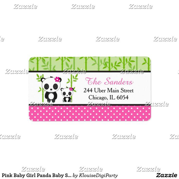 Pink Baby Girl Panda Baby Shower Label