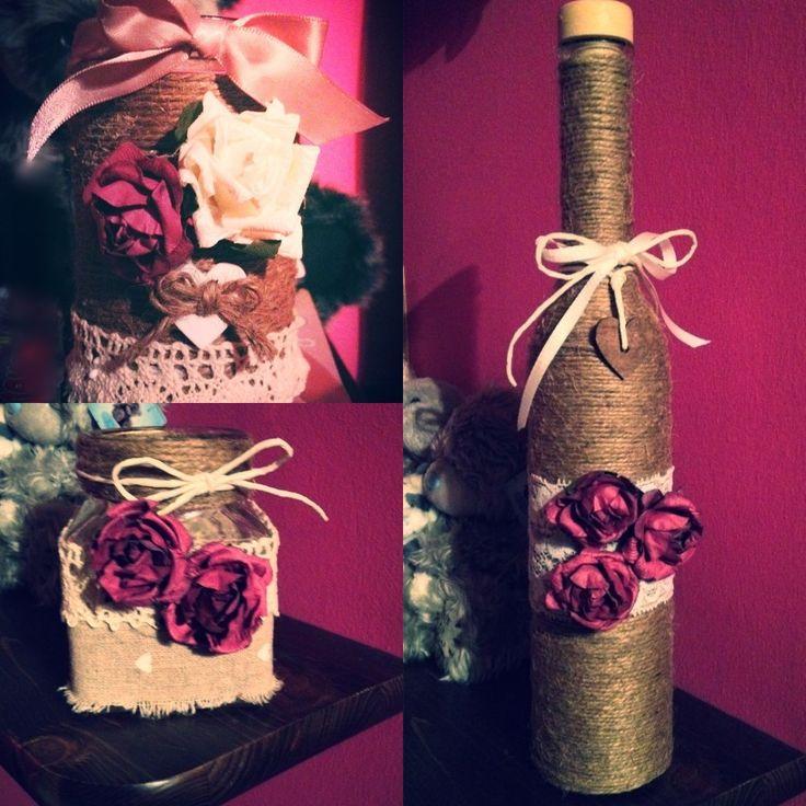 #crafty #jars and #bottle #handmade #stringandroses  #spagoerose   E❤