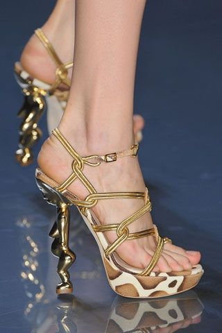 Christian Dior high heels #Dior #Gold #ChristianDior                                                                                                                                                                                 Plus