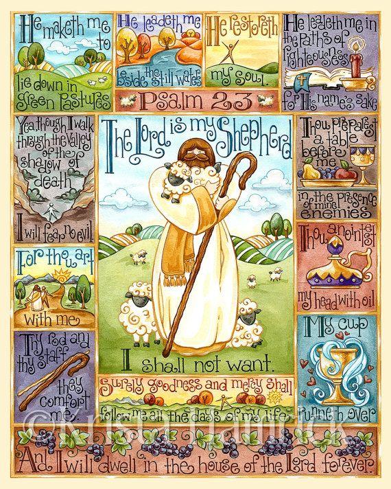 Psalm 23-- original art print 8X10, 11X14