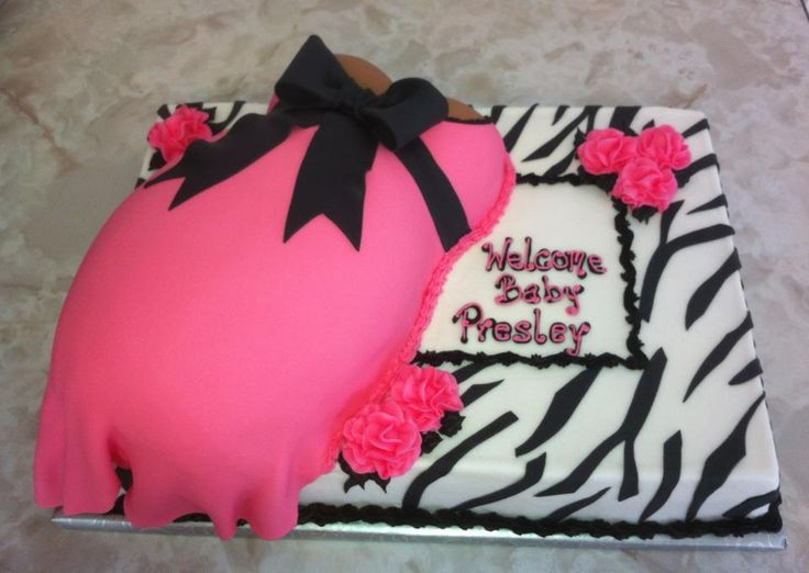 Baby Shower Cakes With Zebra Stripes ~ Girl zebra baby shower cakes