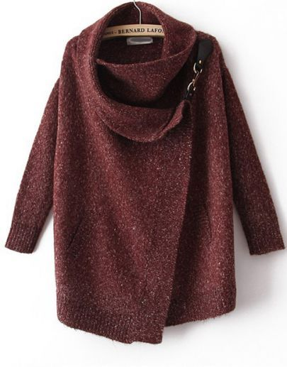 Notice the clasp at the shoulder-Nice-- Lapel Long Sleeve Ouch Cardigan Sweater