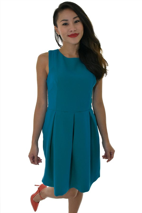 PSL Pleated Pouf Dress in Turquoise