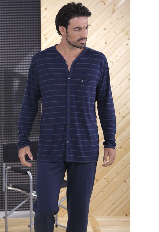 Pijama verano hombre Massana manga larga y pantalón largo punto. http://www.perfumeriaelajuar.com/homewear/pijamas-hombre-verano/36/