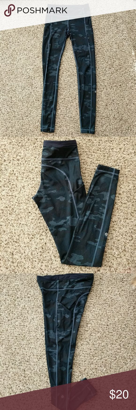 Lululemon blue camo pants Good used condition Lululemon pants. The style is from a few years ago. Blue camo pattern, and pockets on the side! lululemon athletica Pants Leggings