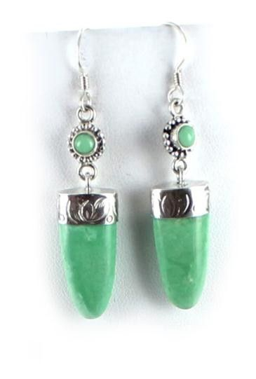 GEMMY VARISCITE STERLING EARRINGS 2 STONE from New World Gems