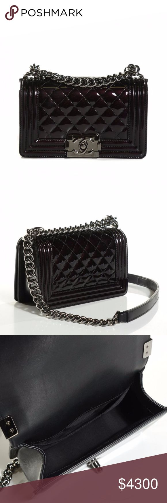 "Chanel ""Le Boy"" Small Black Quilted Patent Leather Crafted from black diamond quilted patent leather, this enviable Boy flap bag features a chunky chain link strap with shoulder pad, CC Boy logo push-lock closure, and gunmetal-tone hardware accents opens to a black fabric-lined interior with side slip pocket perfect for your bare essentials.  Like-New with no-known flaws. Protective film on interior side of buckle Accessories: Authenticity card, tag, protective bag. Sorry, no box Handle Drop…"