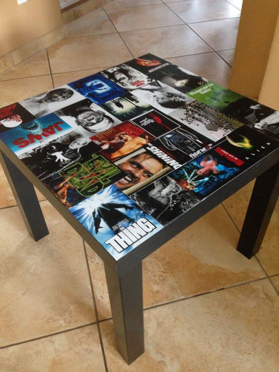 Classic Horror Movie Table by PanelByPanel on Etsy, $130.. I can totally see doing this to a thrift store table for party decor.