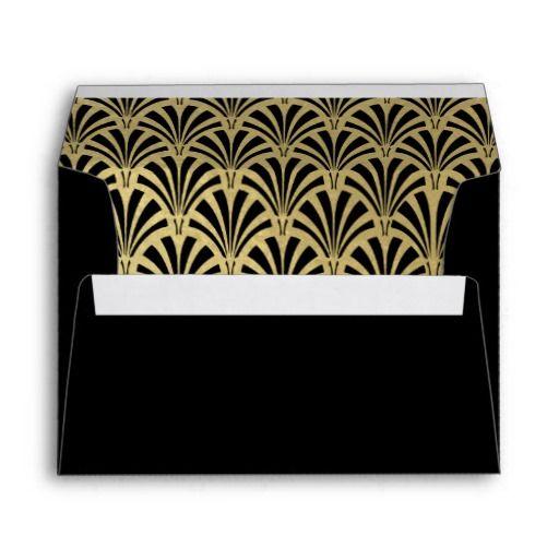 Glam Art Deco Black wth Faux Gold Accents Wedding Envelope