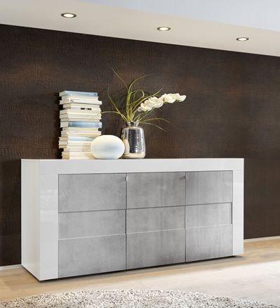 Modern dressoir Easy uitgevoerd in Hoogglans wit gecombineerd met Betonlook fronten. Bestaande uit vier deuren