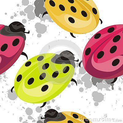 Beautiful ladybug Insect seamless pattern design with colorful ladybug