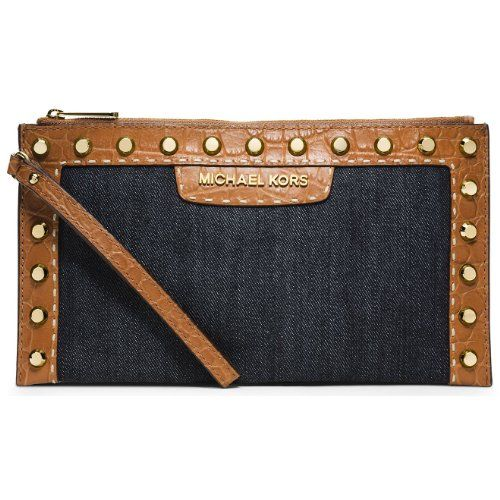 Michael Kors Selma Pick Stitch Large Zip Clutch in Dark Denim Blue *** You can find more details by visiting the image link.