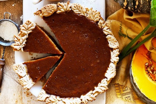 Pecans add a delightful flavour and texture to this traditional pumpkin pie.