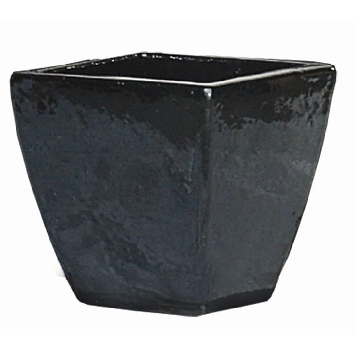 Northcote Pottery 35cm Primo Black Mod Square Glazed Pot