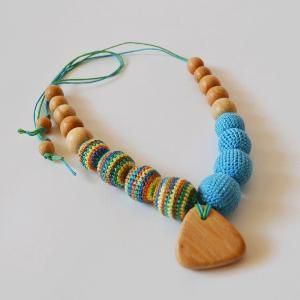 Blue Crochet Beaded necklace – Lovely Piece of Mom and Baby Jewelry – Baby Teething Beads – Sling Jewelry by KattyMarket