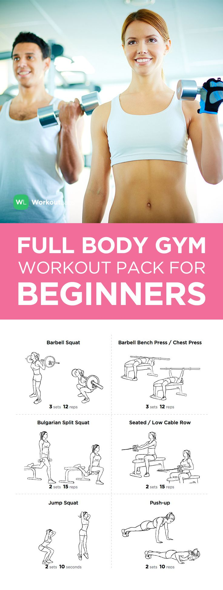 Visit https://WorkoutLabs.com/workout-packs/full-body-gym-workout-pack-for-beginners-men-women to download this Full Body Gym Workout Pack for Beginners