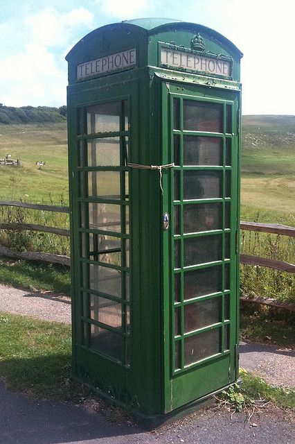 green public telephone box