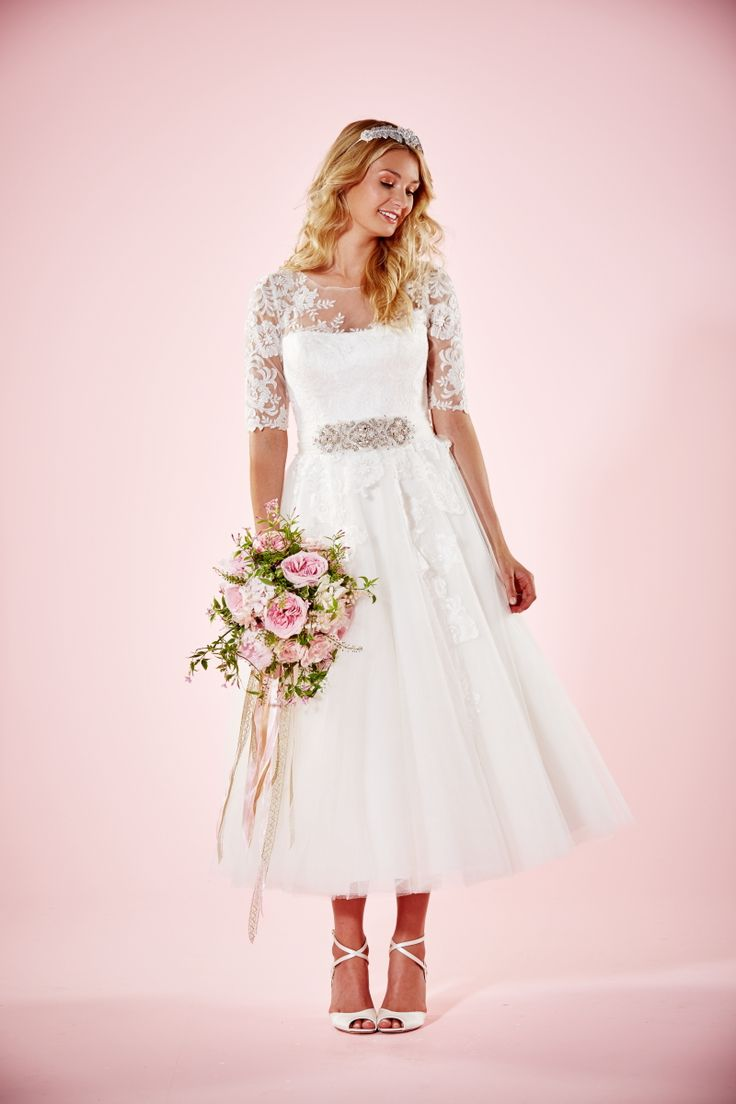 Marie Tea Length Wedding dress with lace 3/4 sleeves | Charlotte Balbier Willa Rose Bridal Collection | http://www.rockmywedding.co.uk/introducing-charlotte-balbiers-willa-rose-collection/