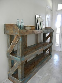 Sink wall. Scrap wood. Distressing. I love this piece so much it will be going into my future home.