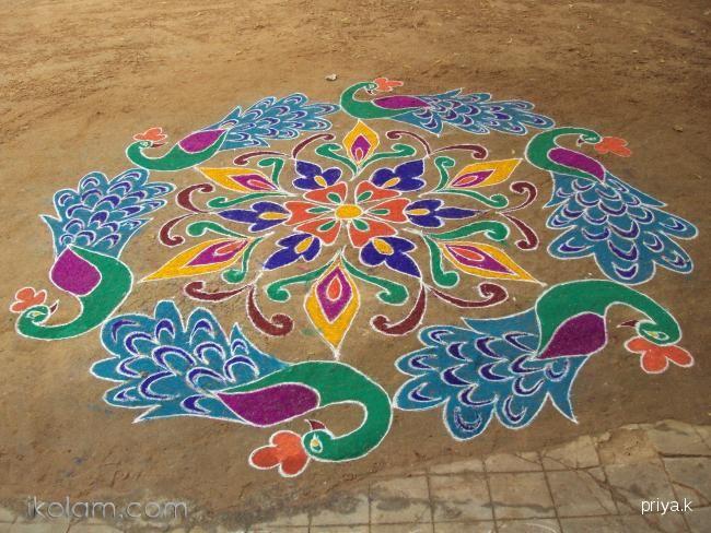 really pretty peacock rangoli design
