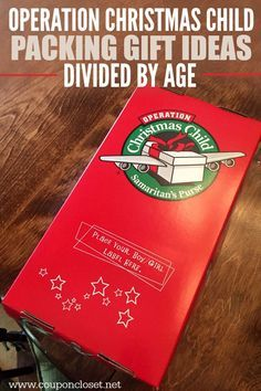 Making an Operation Christmas Child box this year? Here is a Huge list of Samaritan's Purse Operation Christmas Child Gift Ideas - Operation Christmas Child Gift Ideas divided up by age. (I would leave off the suncatcher as liquid paint is not allowed, but otherwise great list!)