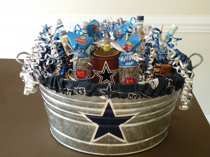 Husband's Dallas Cowboys birthday gift filled with big boy stuff