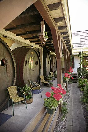 The De Vrouwe van Stavoren Hotel in the Netherlands salvaged four wine casks from Switzerland and converted them into rooms.