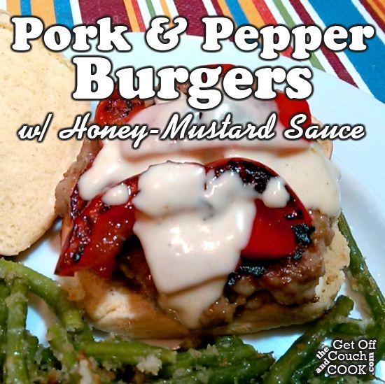 Pork & Pepper Burgers (with Honey-Mustard Sauce) - Simple seasoned pork patties topped with seared sweet red pepper strips and creamy honey mustard sauce make for a quick weeknight dinner!