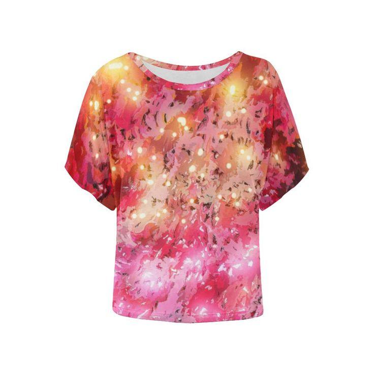 Sparkling Pink - Jera Nour Women's Batwing-Sleeved Blouse T shirt (Model T43)
