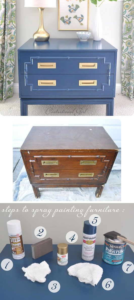 DIY - Spray Painting Furniture - Full Step-by-Step Tutorial with lots of tips and information to achieve a perfect, smooth finish.