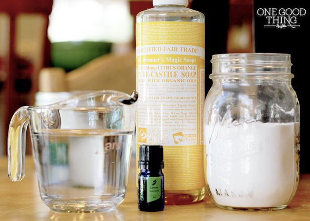 Homemade Citrus Degreaser:     2 cups warm water     2 Tablespoons baking soda     2 teaspoons castile soap     20 drops Lemon essential oil Mix all of the ingredients together in a spray bottle. Spray mixture on greasy messes and wipe with a wet towel, then shine with a dry one.