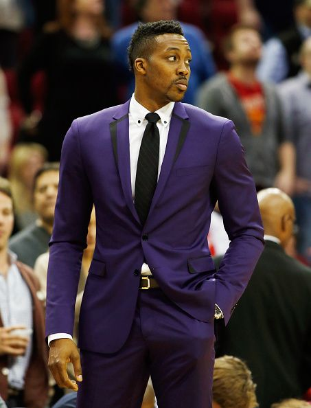 Dwight Howard.  Can't say I would have gone with purple, but I guess red, while supportive of his team, would have been a bit crazier