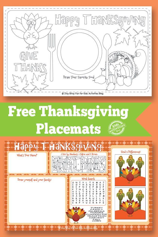 Thanksgiving Placemat Free Kids Printable The O Jays