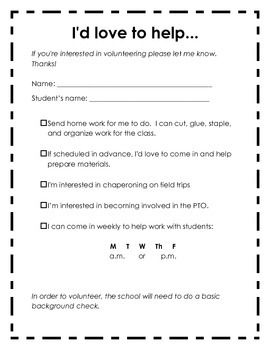 25 best parent volunteer form ideas on pinterest parent for Parent involvement plan template