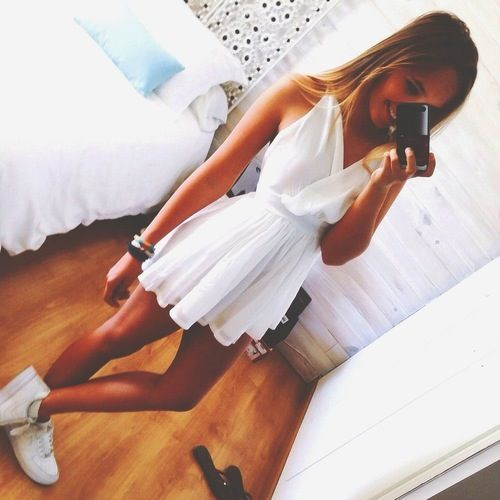 Nike Air Force One Low + Cute White Dress