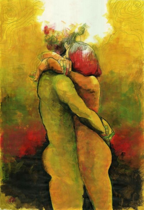 An embrace in Zurich / yellow pages 053 (60 x 42, tempera on paper)