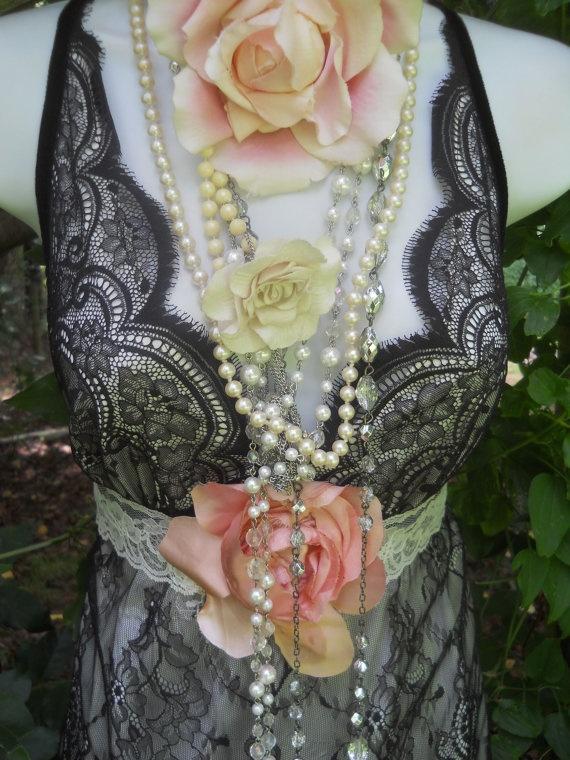 Black lace dress white satin lace tulle vintage victoriana boho rose large  by vintage opulence on Etsy: Lace Dress White, Satin Lace, Victoriana Boho, Lace Tulle, Black Laces, Black Lace Dresses
