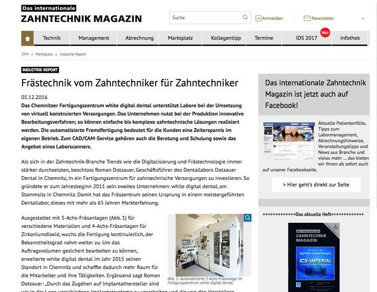 """Schon gesichtet?  Ein Beitrag über unser #Chemnitzer #Fräszentrum im #Internationalen #Zahntechnik #Magazin: """"#Frästechnik vom #Zahntechniker zum #Zahntechniker"""". Ganz klar - #lesenswert!"""