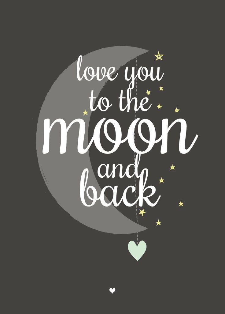 Moon - Mooie ansichtkaart met lieve tekst - ook leuk voor aan de muur.  10,5 x 14,8cm - 300gr. FSC sulfaatkarton