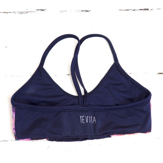 TEVITA OM CONTRAST PRINT SPORTS BRA - navy  yoga | activewear | yogawear | yoga top | sports bra | crop | pilates | gym | floral | pink | pattern | print |health | fitness | boho | wellness | positive energy | spiritual | well being |yoga photography | pool | rice fields |  made in Bali | ethical | social responsibility | Ubud | Tevita lifestyle