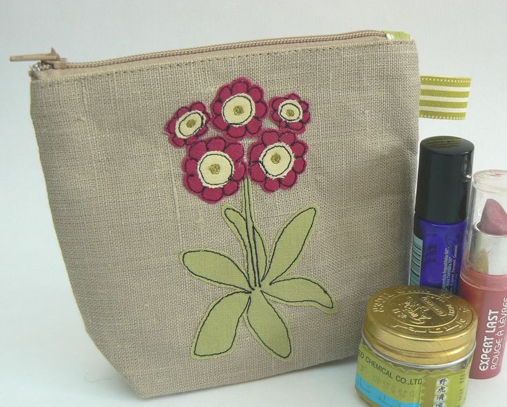Beautiful Red Auricula Primula handmade applique and freehand machine embroidery make-up pouch, with waterproof nylon lining by Moogsmum on Etsy