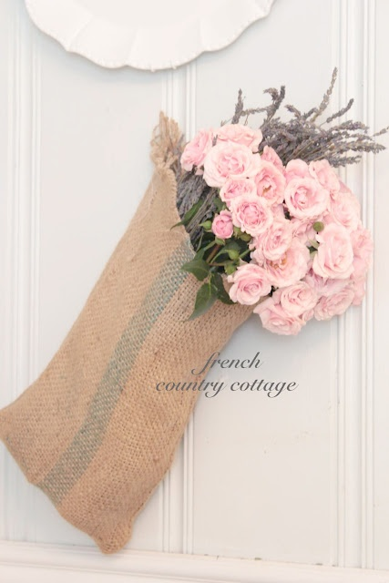 lavender and roses: Pink Roses, French Country Cottages, Shabby Chic, Feathers Nests, Burlap Sack, Burlap Bags, Burlap Bloom, Crafts, Masons Jars