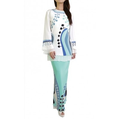 Bayou Batik Baju Kurung Zara in Blue and White