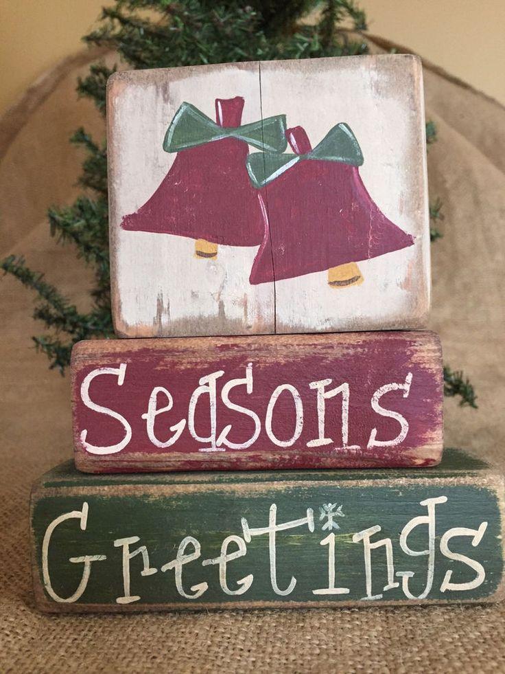 Primitive Country Christmas Bells Seasons Greetings Shelf Sitter Wood Block Set #PrimtiiveCountry